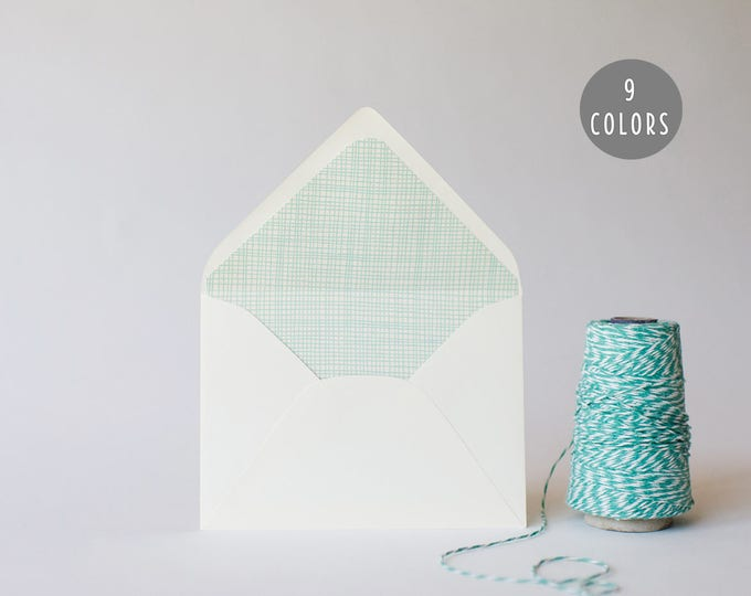 crosshatch lined envelopes (9 color options) - sets of 10 // envelope liners lined envelopes modern wedding shower party invitation invite