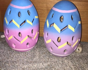 Set of 2 easter egg pink and blue eggs blow molds yard  decoration light up