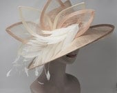 Chamagne w Ivory Kentucky Derby Hat, Church Hat, Wedding Hat, Easter Hat, Tea Party Hat Wide Brim Woman's Sinamay  Hat