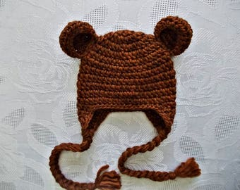 Crochet bear hat Wool baby hat Earflap bear hat Baby earflap hat Newborn bear hat Winter baby hat Brown bear hat  Baby boy winter hat