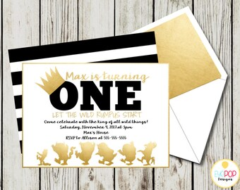 Where The Wild Things Are Invitation, Where The Wild Things Are Birthday Invitations, Party Invite, Wild One, Gold, Black, White
