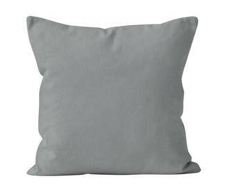 Ready to ship solid medium gray Throw Pillow Cover 18x18 throw cushion cover, water gray pillow cover _RTS