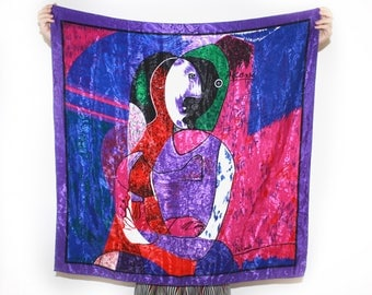 """90's Vintage Colorful Satin Picasso Art Scarf 33""""x35"""""""