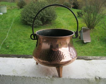 French Copper Planter, Villedieu Copper Pot, Vintage Copper Patio Pot