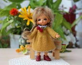 Lati White SP 4-inch doll clothes Doll clothes Knitted Yellow dress doll Winter doll dress Dollhouse clothes to Lati white SP