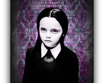Unique vintage style painting Wednesday Addams The Addams Family Halloween Horror Movie Art Home Decor Purple Interior Design