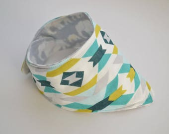 Organic Cotton Tribal Teal and Citron Bandana Bib