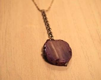 Purple Agate Stone Druzy on Vintage Silver Chain Necklace