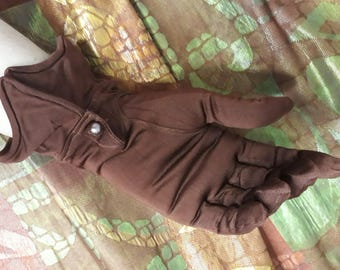 1930s 1940s French vintage rayon jersey gloves chocolate brown