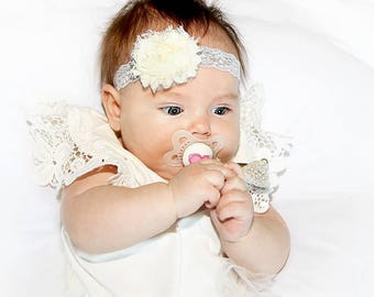 Lace Gray Headband with Ivory Flower