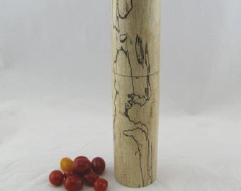Spices and peppermill grinder in spalted Maple ,Cylinder  style with rod mechanisme  10 7/8 in article no: 574