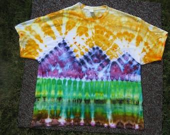 tie dye shirt, mountain art, art shirt, earth day shirt, 3XL