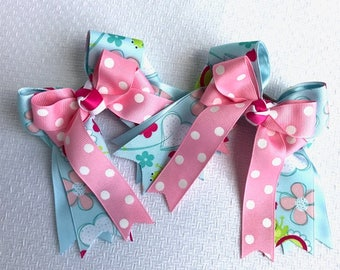 Shorty Horse Show Hair Bows/Small Hair Bows/Pink Blue Shorties