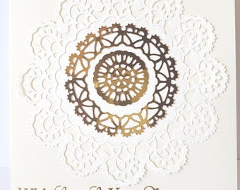 Handmade Die Cut Doily Anniversary  Card