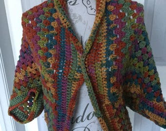 Large granny square cardigan