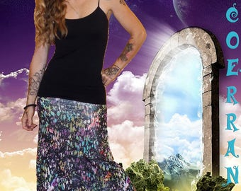Long skirt in stretch mesh 'painting touch...'