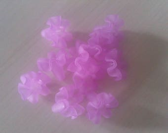 Set of 10 lilac purple synthetic beads