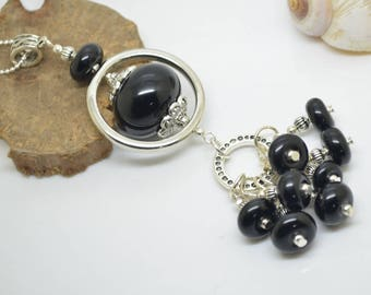 Necklace 76 cm glass beads handmade Lampwork black chain 925 sterling silver!