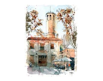 Plaça del Consell de la Vila, Sarria / ORIGINAL WATERCOLOR / Barcelona / drawing Barcelona