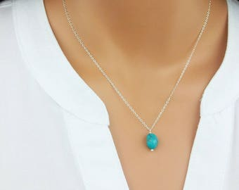 Natural Turquoise, Real Turquoise Necklace, Pendant, December Birthstone,  Gift For Mom, Minimalist Necklace,Bridesmaid Gift, Boho Necklace