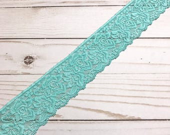 "Aqua Floral Narrow Stretch Lace 2.25"" Wide Bra Lace, Underwear Lace, Lingerie Lace, Headband Lace, Hem Lace BTY By The Yard"