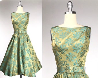 Vintage 1960s Damask Dress // Chartreuse 60s Bow Print Party Dress
