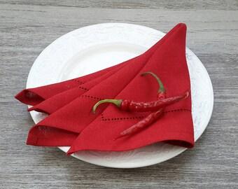 Red linen napkins - red napkins set - red table napkins - linen table napkins - red cloth napkins - linen dinner napkin - hemstitched napkin
