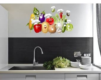 20% OFF Summer Sale Smiling Vegetables wall decal sticker, deco, mural, vinyl wall art