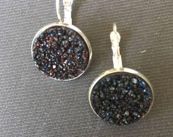 Black drusy cabochon earrings