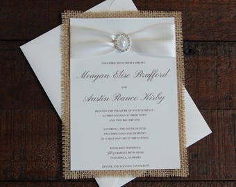 Burlap Wedding Invitation, Rustic Wedding Invitation, Burlap Invitation, Burlap and Pearl Invitation, Pearl Wedding Invitation