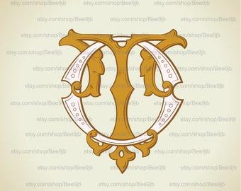 Vintage Monogram OT, TO | Wedding logo | Wedding Clip Art