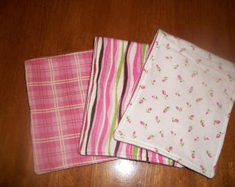 Baby Girls Flannel Burp Cloth Set
