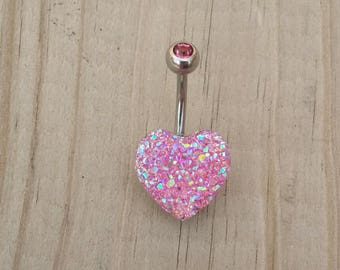 Sparkling Heart Belly Button Ring, Bling Belly Ring, Blue Belly Ring, Body Jewelry, Navel Belly Button Piercing.