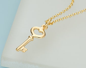 Gold Key Charm Necklace - Key To My Heart - New Home Gift - Gifts for Her - Key Pendant - Key Necklace - Personalised Gift