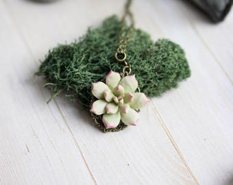 Succulent necklace. Botanical necklace. Succulent jewelry. Succulent pendant. Vintage necklace. Succulent planter. Succulent plants.