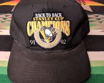 Vintage Pittsburgh Penguins 91 92 Back to back Champions Snapback NHL Hockey