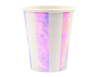 Iridescent Striped Party Cups