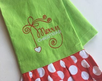 Embroidered Christmas Hand Towel / Christmas Hand Towel