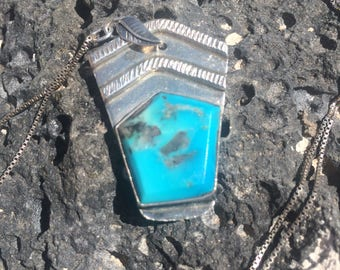 Vintage upcycled turquoise sterling silver pendant necklace
