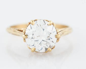 Antique Engagement Ring Victorian GIA 1.80 Old European Cut Diamond in 10k Yellow Gold