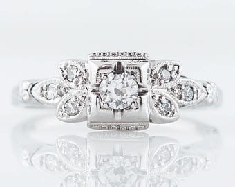 Antique Engagement Ring Art Deco .20 Old European Cut Diamond in 18k White Gold
