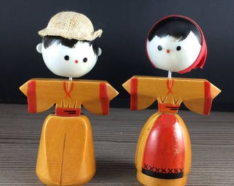 2 Vintage Japanese Bobble Head Dolls Wooden Plastic Woman and Man in Hat Kimono
