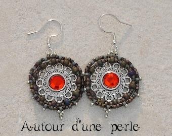 Beaded earrings Bohemian red rhinestones