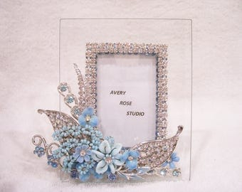 Jeweled Beveled Glass Picture Frame. Holiday Gift, Birthday Gift, Bridesmaid Gift, Wedding or Shower Gift.