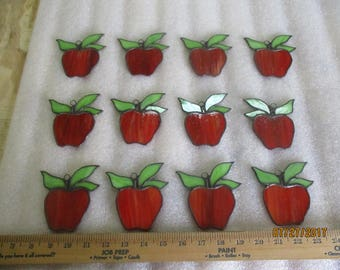 12 Red Stained Glass Suncatcher Apple made for Franklinrd