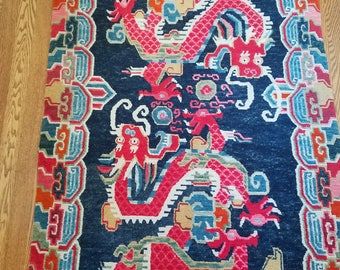 Vintage Exquisite Tibetan Dragon Rug--Red/Blue/Pink/Yellow/Green