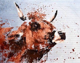 Modern painting of a cow 70x50cm