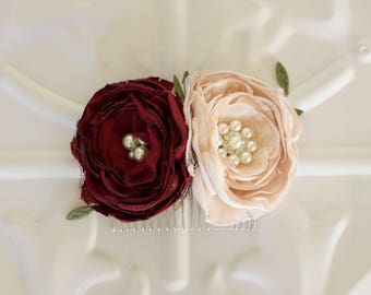 Flower hair comb, burgundy and blush satin and lace flower, Bride, Bridesmaid, Flower girl