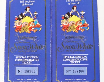 Pair of Disney's Snow White & the Seven Dwarfs 50th Anniversary Coin Ticket,1987