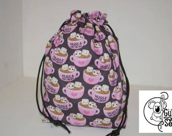 Knitting / Crochet Drawstring Project Bag. Hot Cocoa cup design! Choose the interior color!